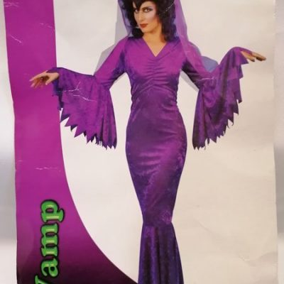 Purple velvet Vamp with fixed belt tie and veil
